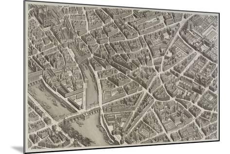 Plan de Paris (1734-1739) dit plan de Turgot, La Seine, le Pont-Neuf, l'île de la Cité, Notre-Dame--Mounted Giclee Print