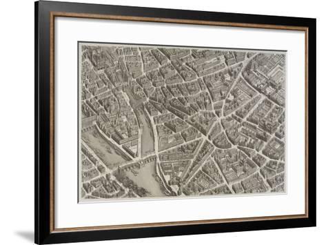 Plan de Paris (1734-1739) dit plan de Turgot, La Seine, le Pont-Neuf, l'île de la Cité, Notre-Dame--Framed Art Print
