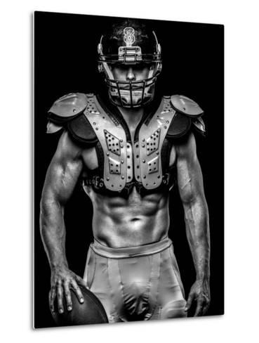 American Football Player with Ball Wearing Helmet and Protective Shields-NejroN Photo-Metal Print