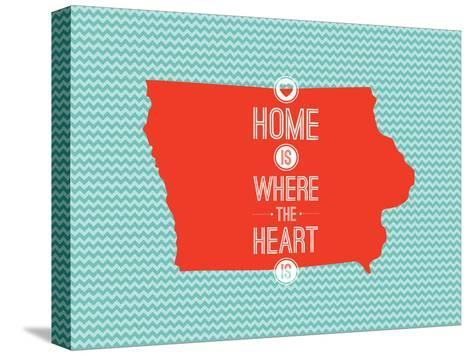 Home Is Where The Heart Is - Iowa--Stretched Canvas Print