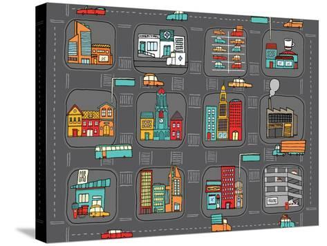Colorful Cartoon City Map-Curvabezier-Stretched Canvas Print