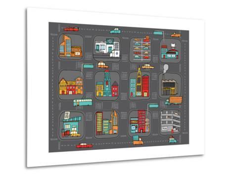 Colorful Cartoon City Map-Curvabezier-Metal Print