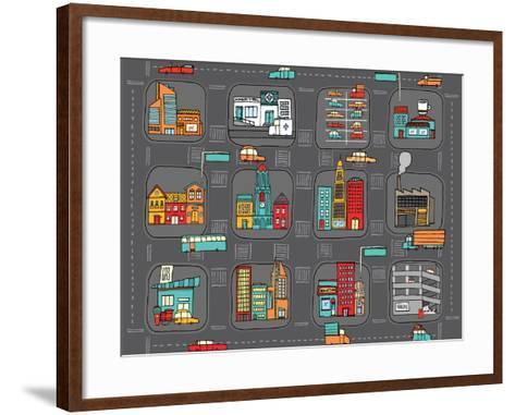 Colorful Cartoon City Map-Curvabezier-Framed Art Print