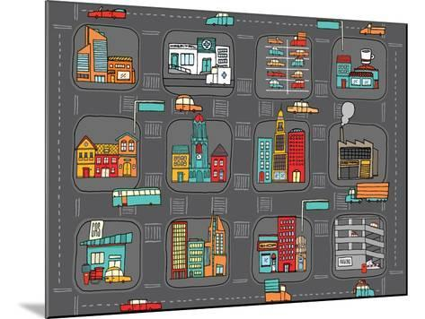 Colorful Cartoon City Map-Curvabezier-Mounted Art Print