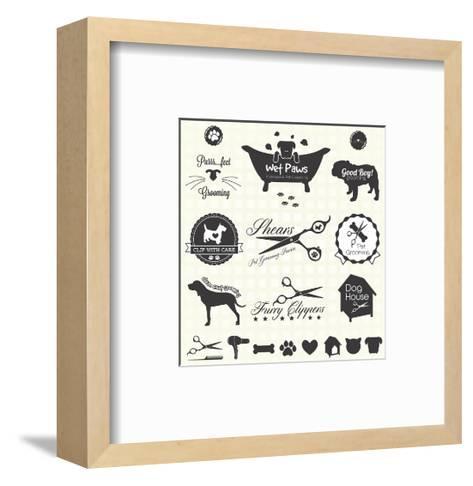 Vector Set: Pet Grooming Labels-vreddane-Framed Art Print
