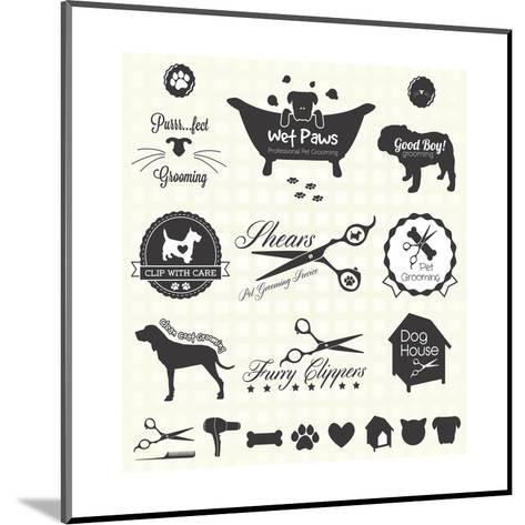 Vector Set: Pet Grooming Labels-vreddane-Mounted Art Print