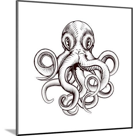 Octopus Illustration-Krisdog-Mounted Art Print