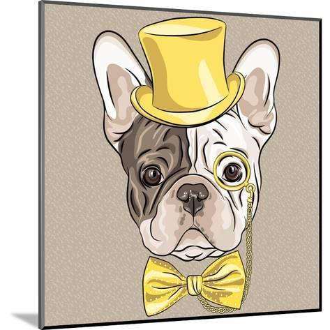 Vector Funny Cartoon Hipster French Bulldog Dog-kavalenkava volha-Mounted Art Print