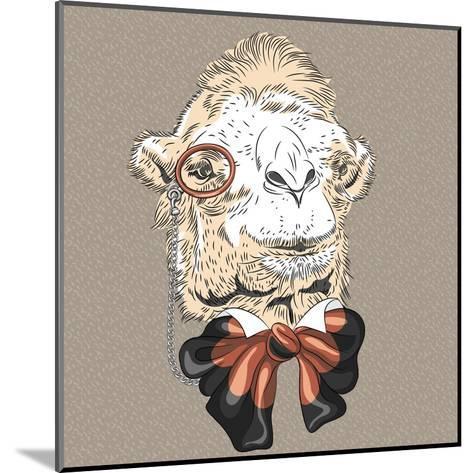 Vector Closeup Portrait of Funny Camel Hipster-kavalenkava volha-Mounted Art Print