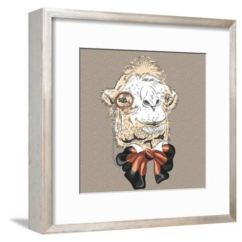 Vector Closeup Portrait of Funny Camel Hipster-kavalenkava volha-Framed Art Print