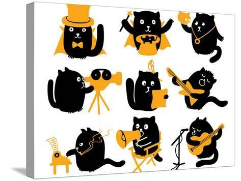 Set of Black Cats. Creative Professions-oliycka-Stretched Canvas Print