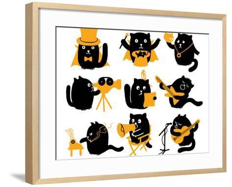 Set of Black Cats. Creative Professions-oliycka-Framed Art Print