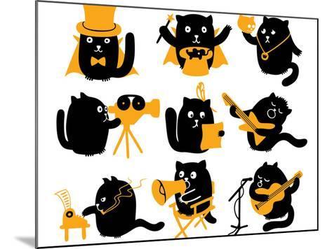 Set of Black Cats. Creative Professions-oliycka-Mounted Art Print