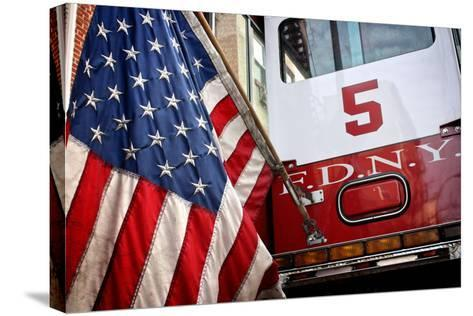 FDNY Truck with American Flag--Stretched Canvas Print