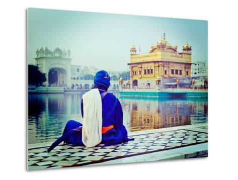 Vintage Retro Hipster Style Travel Image of Unidentifiable Seekh Nihang Warrior Meditating at Sikh-f9photos-Metal Print