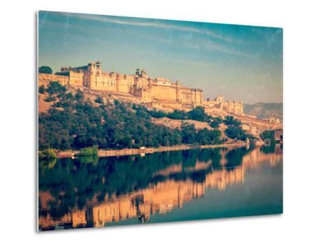 Vintage Retro Hipster Style Travel Image of Famous Rajasthan Landmark - Amer (Amber) Fort, Rajastha-f9photos-Metal Print