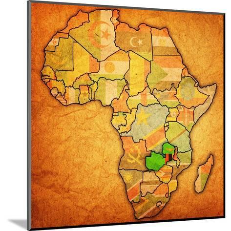 Zambia on Actual Map of Africa-michal812-Mounted Art Print