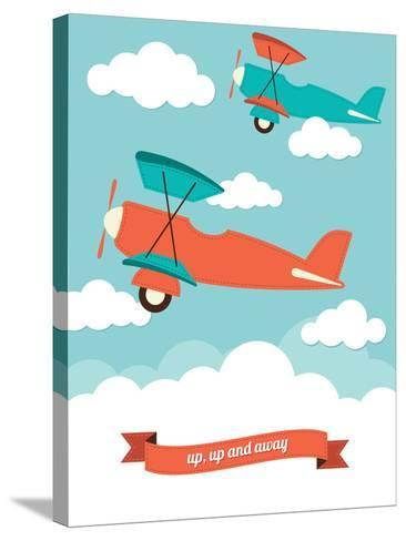Biplane in the Clouds-Rachael Arnott-Stretched Canvas Print