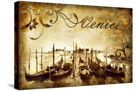 Venetian Pictures - Artwork in Retro Style-Maugli-l-Stretched Canvas Print