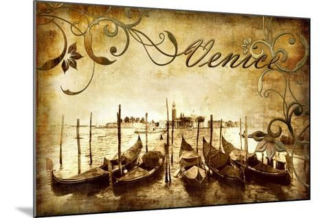 Venetian Pictures - Artwork in Retro Style-Maugli-l-Mounted Art Print