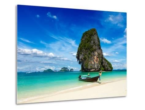 Long Tail Boat on Tropical Beach with Limestone Rock, Krabi, Thailand-f9photos-Metal Print