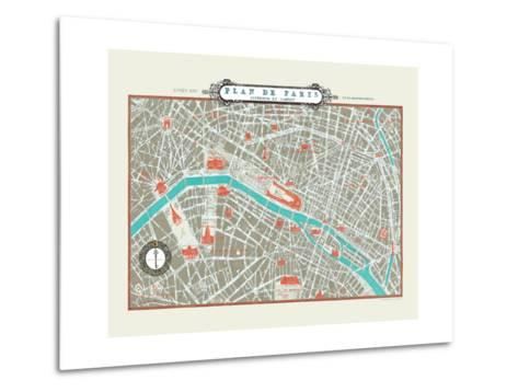 Plan de Paris Map--Metal Print