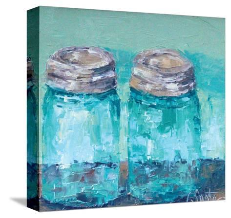 Two Blue Jars-Leslie Saeta-Stretched Canvas Print