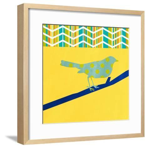 Teal Bird II-Linda Woods-Framed Art Print