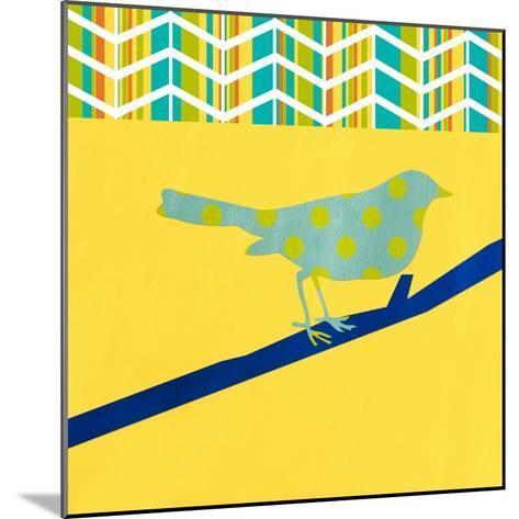 Teal Bird II-Linda Woods-Mounted Art Print