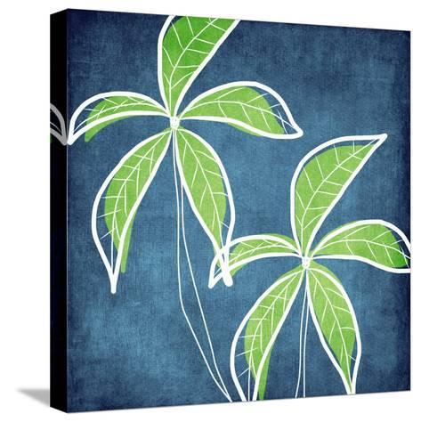 Palm Trees-Linda Woods-Stretched Canvas Print