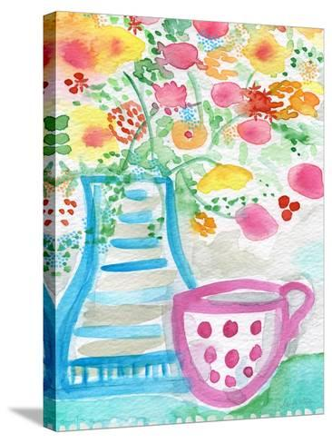 Tea and Flowers III-Linda Woods-Stretched Canvas Print