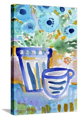 Tea and Flowers-Linda Woods-Stretched Canvas Print