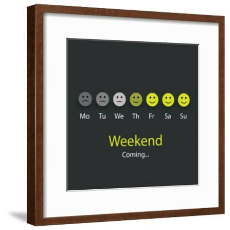 Weekend Coming - Design Concept with Smile Faces-bagotaj-Framed Art Print