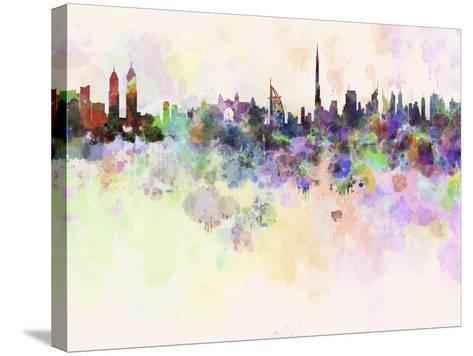 Dubai Skyline in Watercolor Background-paulrommer-Stretched Canvas Print