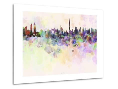 Dubai Skyline in Watercolor Background-paulrommer-Metal Print