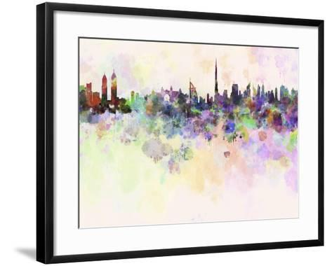 Dubai Skyline in Watercolor Background-paulrommer-Framed Art Print