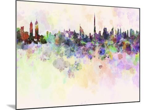 Dubai Skyline in Watercolor Background-paulrommer-Mounted Art Print