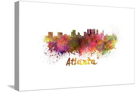 Atlanta Skyline in Watercolor-paulrommer-Stretched Canvas Print