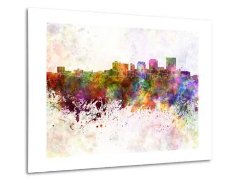 Dayton Skyline in Watercolor Background-paulrommer-Metal Print