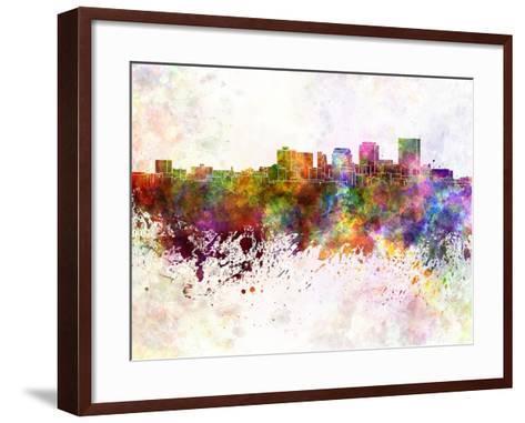 Dayton Skyline in Watercolor Background-paulrommer-Framed Art Print