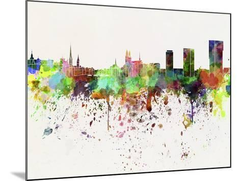 Zurich Skyline in Watercolor Background-paulrommer-Mounted Art Print