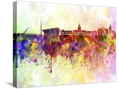 Dublin Skyline in Watercolor Background-paulrommer-Stretched Canvas Print