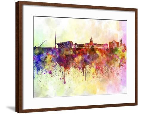 Dublin Skyline in Watercolor Background-paulrommer-Framed Art Print