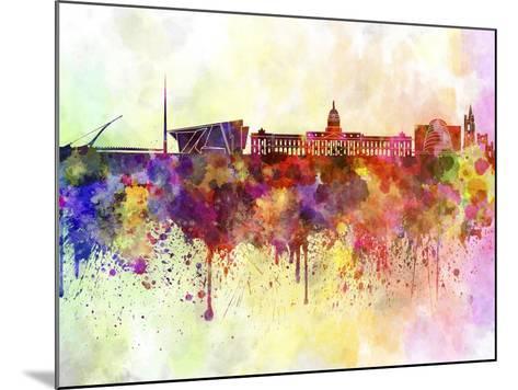 Dublin Skyline in Watercolor Background-paulrommer-Mounted Art Print