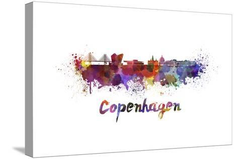 Copenhagen Skyline in Watercolor-paulrommer-Stretched Canvas Print