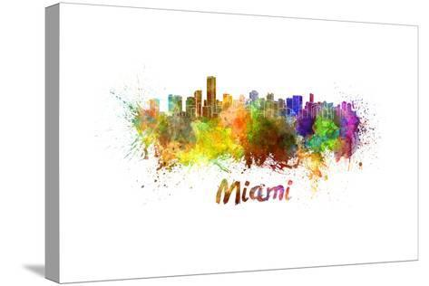 Miami Skyline in Watercolor-paulrommer-Stretched Canvas Print