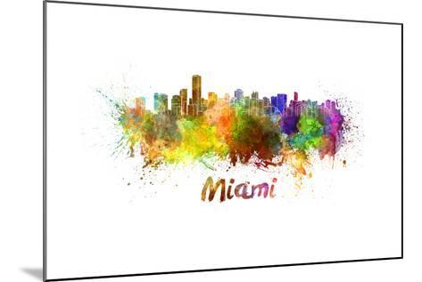 Miami Skyline in Watercolor-paulrommer-Mounted Art Print