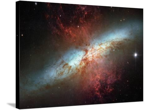 Happy Sweet Sixteen Hubble Telescope Starburst Galaxy M82 Space Photo Art Poster Print--Stretched Canvas Print