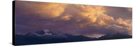 Clouds Lit by Setting Sun Above Rocky Mountains Ridge-Anna Miller-Stretched Canvas Print