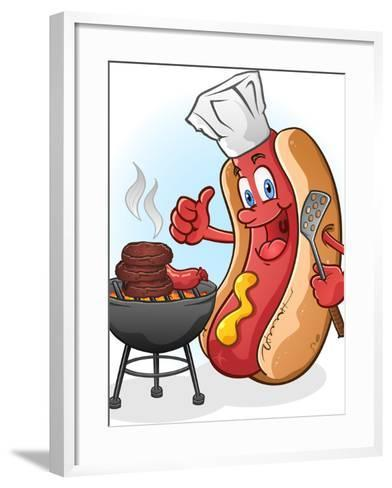 Hot Dog Chef Cartoon Grilling Burgers-Tony Oshlick-Framed Art Print